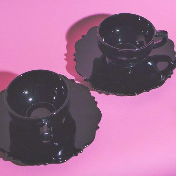Vintage Black Milk Glass Tea Cup Saucers
